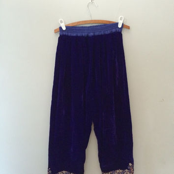 Blue velvet pants / lounge pants / bohemian pants / gypsy pants boho fashion embroidered pants
