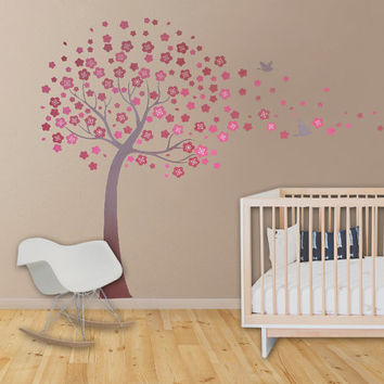 cherry blossom wall decals birds vinyl wall decals nursery wall decals tree wall mural cherry decor-Plum Blossom with Flying Birds