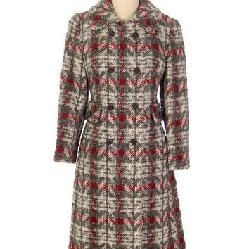 Vintage Ladies Wool Coat Gray & Red Plaid 1970 Classic Style 36 Bust