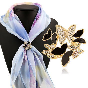 Elegant Women Lady Chic Crystal Rhinestone Enamel Butterfly Brooch Clips
