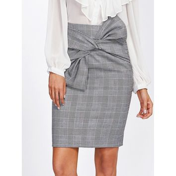 Tie Waist Plaid Pencil Skirt