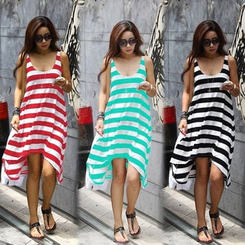 Women Beauty Summer Casual Elegant Sexy Stripe Irregular Beach Long Dress 16368 One Size Vestidos = 1652465476