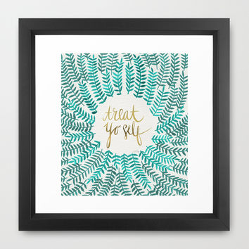 Treat Yo Self – Gold & Turquoise Framed Art Print by Cat Coquillette