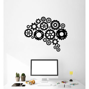 Vinyl Decal Wall Sticker Mural Gears Brain Smart Knowledge Decor Office (g043)