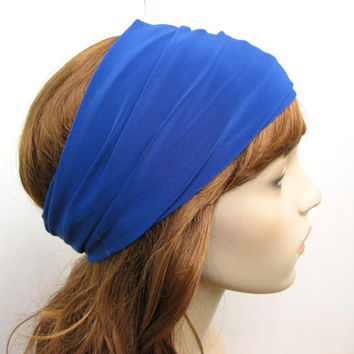 Marine Cobalt Blue Extra Wide Turban Headband, Hair Tube, Women's Yoga Wrap, Turband, Hair Accessories, Gifts for Her, Gift Ideas
