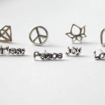 Mix n' Match Earrings  words and symbols Love by HeartCoreDesign