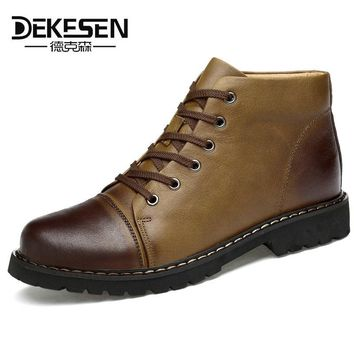 DEKESEN Winter Warm Shoes Snow Boot With Fur,Fashion British style 100% Genuine Leather Ankle Boot,Men Waterproof Casual Shoes