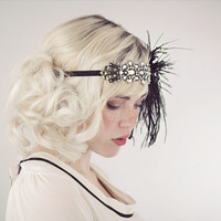 Deco Flapper Black Feather Headband Silver And Antique Gold Or Silver