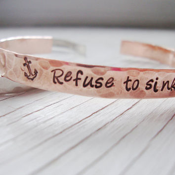 Refuse to sink hammered hand stamped bracelet with anchor