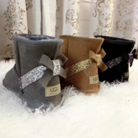 UGG:: bow leather boots boots in tube bow knot shining boots (3-color)