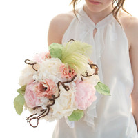 Elegant garden bouquet, white paper hydrangea, light pink peony, creamy peony, apricot anemone, vine wire and greens wedding bouquet,
