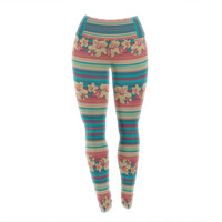 "Nina May ""Mahalo Denim Stripe"" Teal Floral Yoga Leggings"