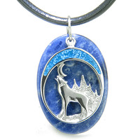 Howling Wolf Moon Amulet Good Luck Powers Sodalite Gemstone Leather Pendant Necklace