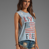 The Laundry Room Live Free Lightening Wash Muscle Tee in Light Blue