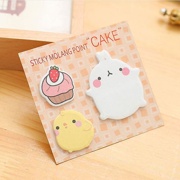 Sticky Notes Memo Pad Labels | Bookmark Stationary Paper | School Office Supplies | Cupcake Chick Rabbit Cute Korean Post-It M44