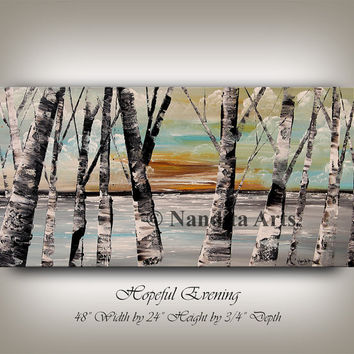 Painting, Aspen Tree Painting, Birch Tree Art, Autumn Birch Forest Painting Wall Art, Sunset Scenery Ready to Hang, Art by Nandita Arts
