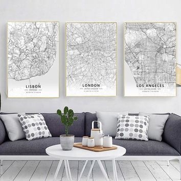 Modern Famous World City Map Lisbon London Los Angeles City Poster Nordic Living Room Wall Art Picture Home Canvas Painting