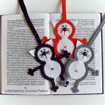 069 Cat Baton Bookmark or decor - Amigurumi Crochet Pattern - PDF file by Zabelina Etsy