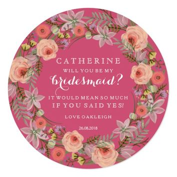 Pastel Wreath Will You Be My Bridesmaid | Pink Card