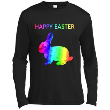 Happy Easter - Easter Bunny water color rainbow Rabbit Long Sleeve Moisture Absorbing Shirt