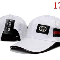 White Gucci Embroidered Hat Baseball Cap Hat 1749