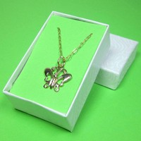 14k gold filled vermeil small butterfly charm necklace gift boxed | Thesingingbeader - Jewelry on ArtFire