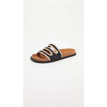 Free People Crete Footbed Sandals Black