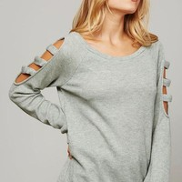 Light Olive Textured Cutout Detail Top