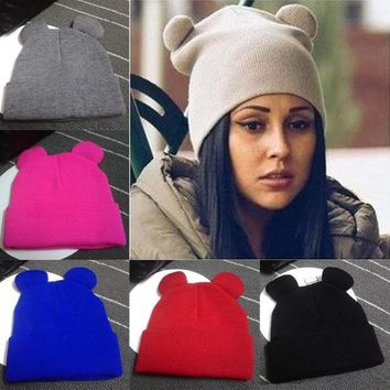 ICIKJG2 Fashion Women Winter Warm Knitted Hat Cat's Ears Women's Hat Knitted Caps Casual Female Beanies Hip-hop Skullies Solid Color Y1