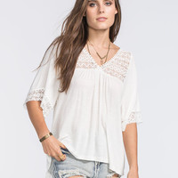 Full Tilt Crochet Inset Womens Peasant Top Cream  In Sizes