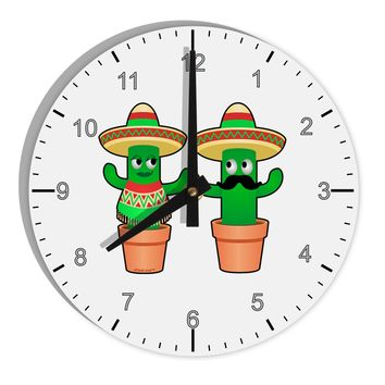 "Fiesta Cactus Couple 8"" Round Wall Clock with Numbers by TooLoud"