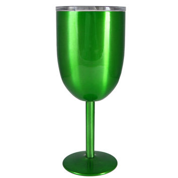 TREK 10oz Green Translucent Stainless Steel Wine Glass Tumbler