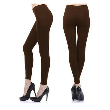 Warm Fuzzy Feeling High Waist Fleece Leggings Brown