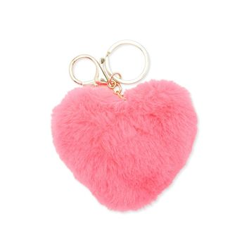 Faux Fur Heart Keychain