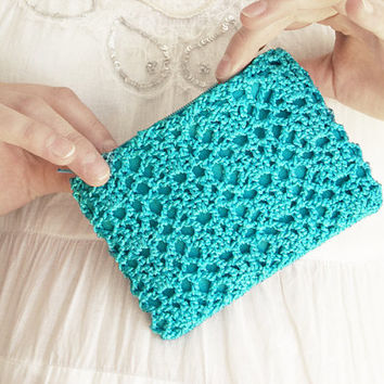 Turquoise Dream Crochet Cosmetics Case