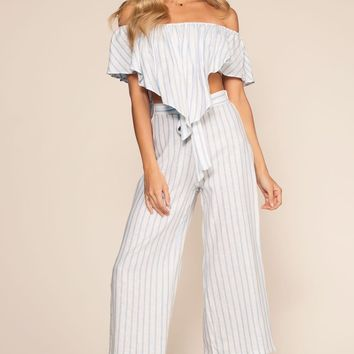 On My Way To Rio Striped High Waist Culottes - Blue