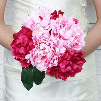 "Silk Peony Bouquet in Two Tone Pink - 12"" Tall"
