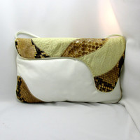 Large White And Animal Print Clutch Convertible Strap Vintage 1980's Collectible Gift Item 2350