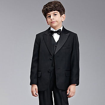 Eight Pieces Black Ring Bearer Suit Tuxedo With Two Bow Ties