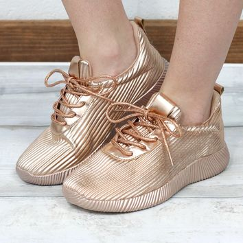 Get Your Shine On Sporty Sneakers {Metallic Rose Gold}