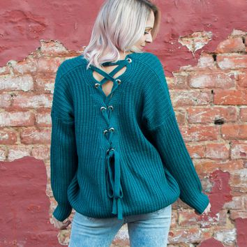 Teal Back Lace Sweater