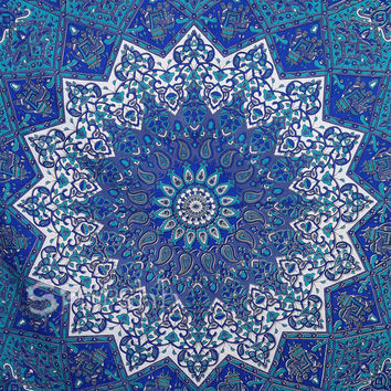 blue Star Mandala Hippie Tapestry,Hippie Mandala Wall Hanging,Indian Bedspread Bed Sheet Cover Throw, Bohemian tapestry,Psychedelic tapestry