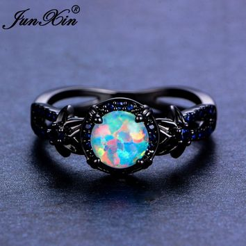 JUNXIN Brand Female White Fire Opal Ring 2017 Fashion Blue Flower Ring Black Gold Filled Jewelry Vintage Wedding Rings For Women