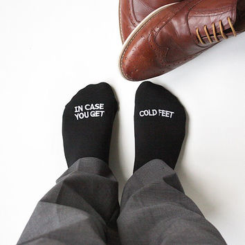 Black Groom Socks best wedding gift IN CASE YOU GET COLD FEET socks embroidered dress socks