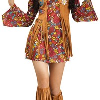 Womens Peace Love Hippie Costume American Native Costumes 70s Retro Party Stagewear Clothes Halloween Costumes for women
