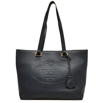 Prada Women's Black Vitello Daino Calfskin Leather Shopping Tote Bag 1BG100