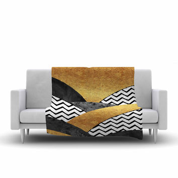"Zara Martina Mansen ""Chevron Hills"" Gold Black White Fleece Throw Blanket"