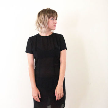 vtg 90s sheer black tee dress, casual see through modern short sleeve mini, 1990s tumblr aesthetic, vaporwave, urban mod, american apparel