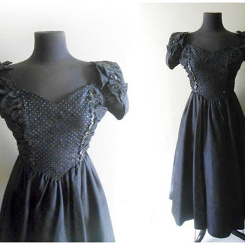 Black Party Dress Prom Dress Formal Jessica McClintock Gunne Sax Size SMALL