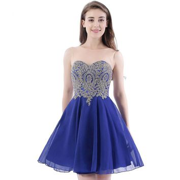 A Line Sheer Scoop Neckline Royal Blue Chiffon Homecoming Dresses Short Party Prom Dress Homecoming Dress